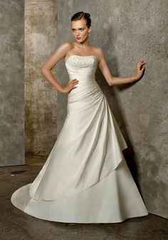 Drop Waist Wedding Dress Vintage Lace Weddings White Satin