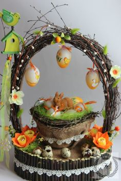 Gallery.ru / Пасха - Пасха - Natysa-2012 Disney Diy Crafts, Diy And Crafts, Birdhouse Craft, Wedding Bottles, Diy Easter Decorations, Easter Activities, Christmas Mood, Easter Wreaths, Easter Baskets