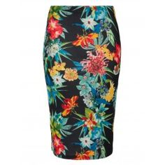 Navy Floral Print Pencil Skirt | Skirts | Desire | 16.60
