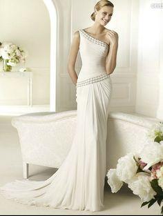 Pronovias Wedding dress Chiffon one shoulder asymmetrical drop waist a-line gown with silver beaded details Style devesa [NPron034] - $215.00 :