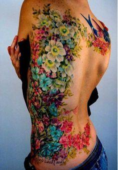 Image result for full back flower tattoo