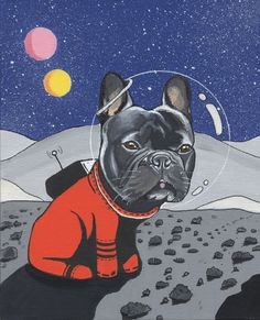 French Bulldog in Space, oil painting.
