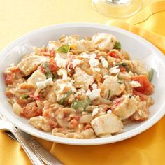 Chicken in Tomato-Basil Cream Sauce Recipe -This recipe was inspired by all our fresh garden tomatoes and herbs. In summer, I grill the chicken with some Italian seasonings and a bit of… Pasta Recipes, Chicken Recipes, Cooking Recipes, Healthy Recipes, Chicken Meals, Healthy Dinners, Dinner Recipes, Chicken Orzo, Meal Recipes