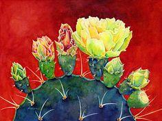Cactus Painting - Desert Bloom 3 by Hailey E Herrera