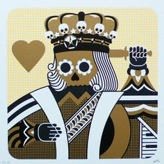 Suicide King by MFG- Depicted is the classic playing card suicide king of hearts in skeleton from. This king is wearing crown, robe ansd stabbing himself in the head with a knife. Limited edition silkscreen art print artwork by famous artist MFG.