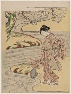 Catching Fallen Blossoms with a Fish Net  桜を掬う女  Japanese, Edo period, about 1766–67 (Meiwa 3–4)  Suzuki Harunobu, Japanese, 1725–1770  woodblock print; ink and color on paper.  MFA Boston