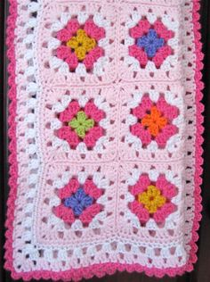 pink granny square blanket