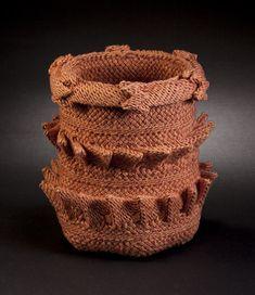 """COUNTERPOINT Ply-split basket by Barbara J. Walker 7.5"""" H x 6.5"""" D; linen"""