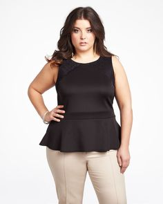 Plus Size peplum top with lace insert in Black