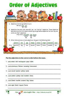 adjectives worksheet - order of adjectives