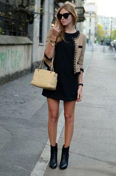 tweed preto + dourado