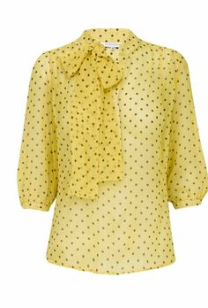 Silk Dot Pussy Bow Blouse