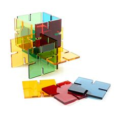Get the little ones involved in blocks of colour like Henri Matisse, with this fun perspex square building set. The possibilities are endless, with a vivid imagination and 48 colour squares and five colours.<br><br>Designed and made in England. Suitable 3 years +