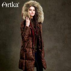 Lowest Price $176.99, Buy Artka Winter Duck Down Jacket Women Fur Parka With Hood Long Down Coat Female Extra Warm Outerwear Vintage Windbreaker ZK15352D