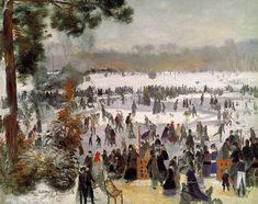 """Skaters in the Bois de Boulogne,"" Pierre Auguste Renoir, 1868, oil on canvas, private collection."