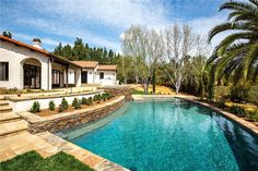 Outdoor space: Sparkling pool and drought resistant landscaping