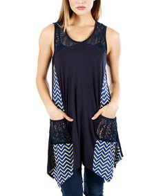 Another great find on #zulily! Blue & Yellow Zigzag Handkerchief Tunic - Plus Too #zulilyfinds