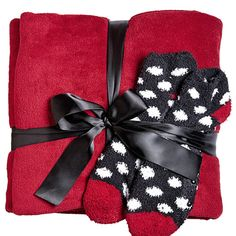 Find the perfect holiday gift for mom or your best friend like the Red Blanket and Sock Gift Set available online at avenue.com. Avenue Store