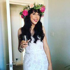 wedding hair down hair up up do vintage messy sleek bridal hair dresser makeup artist Wirral Liverpool flower crown oversized hair down curled red lip bride