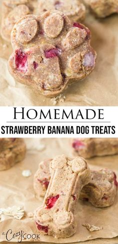 dog treats homemade This Homemade Strawberry Banana Dog recipe is so easy to make and includes a link for super cute treat molds! These treats are sure to keep your dog happy and energized! Dog Cookie Recipes, Easy Dog Treat Recipes, Homemade Dog Cookies, Dog Biscuit Recipes, Homemade Dog Food, Dog Food Recipes, Recipe Treats, Homemade Dog Biscuits, Banana Dog Treat Recipe