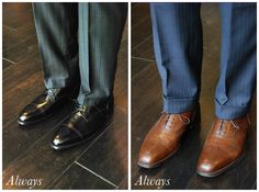 Nothing projects confidence like a perfect navy blue suit paired with beautiful brown oxford wingtips. Because brown can be described as everything from dark chocolate to light tan, it can make your shoes very versatile depending on what color you get. Brown shoes look great with just about every color of suit, especially navy, grey & blue. A neat trick to enhance the color contrast between brown shoes & the color of your suit is to pair lighter tones on the shoe w/ darker colors in the…