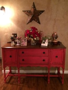 CC Chalk Paint Buffet Table In Red :))) My Fav Project Thus Far