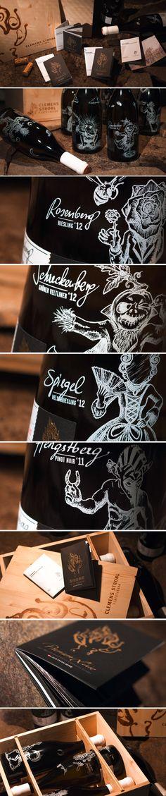 WEINMANUFAKTUR CLEMENS STROBL // Packaging: By www.impack.at #packaging #design #creative #packagingdesign #corporate #branding #wine #bottle #Illustration
