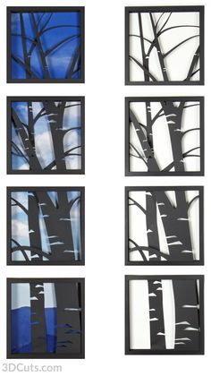3d Aspen Trees Shadow Box tutorial by 3dCuts.com, Marji Roy, 3D cutting files in .svg, .dxf, .png and .pdf formats for use with Silhouette and Cricut cutting machines, paper crafting files