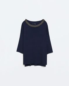 Image 6 of SWEATER WITH BRAIDED METAL NECKLACE from Zara
