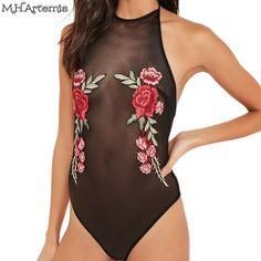 Artemis Halter floral broderie body 2017 Sexy mesh femmes salopette dos nu  barboteuse D  eacute t eacute  fac26d77127