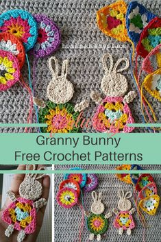 Easter Crochet Patterns, Crochet Bunny Pattern, Granny Square Crochet Pattern, Crochet Squares, Applique Patterns, Granny Squares, Crochet Granny, Stitch Patterns, Crochet Frog