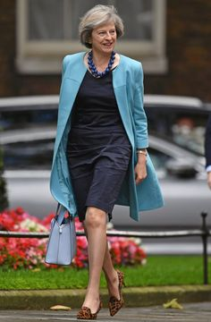 Pin for Later: British Prime Minster Theresa May Has a Style Mantra For All Power Women A Bright Blue Jacket — With the Necklace to Match Mature Fashion, Over 50 Womens Fashion, Fashion Over 50, Love Fashion, Mode Outfits, Fashion Outfits, Teresa May, Office Ladies, British Style