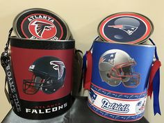 Hand Crafted Sports Gift Can For All Occasions. My Basic Sports Gift Cans are filled with 1 team tee, team keychain, 1 beverage holder, 1 sports decal, sports head wrap. All Sports items are 100% authentic. For more information contact Krissy at chrizharris@att.net