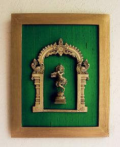 Beautiful Framed Brass Prabhavali On Emerald Green Raw Silk With Lord Krishna. Frame Height 45 cm x Width 35 cm Beautiful Framed Brass Prabhavali On Emerald Green Raw Silk With Lord Krishna. Frame Height 45 cm x Width 35 cm – theindianweave Indian Home Interior, Indian Interiors, Ethnic Home Decor, Indian Home Decor, Indian Inspired Decor, Home Entrance Decor, Pooja Room Door Design, Puja Room, Indian Living Rooms