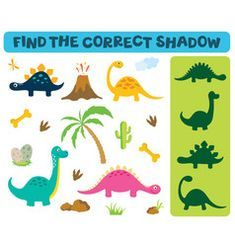 Find the correct shadow adorable dinosaurs vector Valentine Picture, Valentines Day Pictures, Kids Vector, Dog Vector, Dinosaur Pictures, Bird Pictures, Wild Animal Games, Monster Games For Kids, Valentine Cartoon