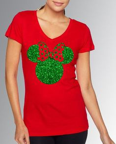 Minnie Mouse * Red & Green Glitter Fitted V Neck Cap Sleeve Shirt * Jersey Top * Run Disney * Mickey's Very Merry Christmas Party