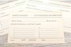 Vintage School Tardy Slip Late Absent Attendance Record Form Teacher Excuse Home Room Smash Book Junk Journal