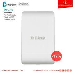 Promoción de D-Link para el mes de Junio. ¡Aprovecha esta oportunidad!  DAP-3310 Ap Exterior  PoE Passthrough, Wireless N300 7 modos, 10 dBi  Promoción válida hasta el 11 de Julio de 2014, para clientes adheridos a la iniciativa. http://olympiacanarias.com/