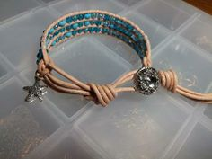 leather cording with assorted blue seed beads,star charm