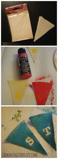 Make a stenciled canvas banner with stickers | shakentogetherlife.com
