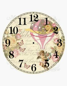 Shabby Chic Clock-DIY French Inspired Clock Face with Hot Air Balloon, Roses and Cherub Paper Clock, Clock Art, Diy Clock, Decoupage Vintage, Decoupage Paper, Vintage Paper, Vintage Clocks, Clock Printable, Shabby Chic Clock
