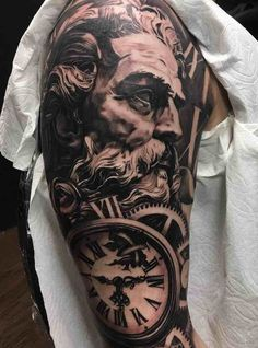 Poseidon Half Sleeve Tattoo by Andres Ortega