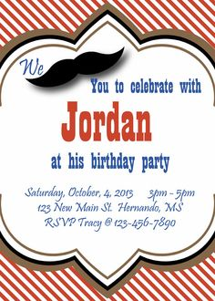 Printable Mustache Invitations  Instant by SweetFridaysChild, $5.00