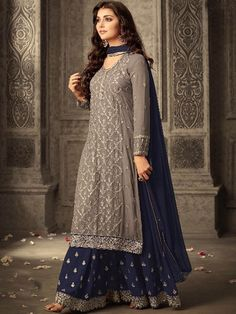 Shop Grey and Purple Georgette Sharara Suit Online @ YOYO Fashion. Explore the Latest EID Dresses. Amazing EID Dresses, Suits, Sarees and Lehengas at Best Prices. Eid Dresses, Pakistani Dresses, Fashion Dresses, Wedding Dresses, Bridal Anarkali Suits, Pakistani Suits, Wedding Outfits, Cotton Dresses, Fashion Clothes