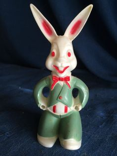 Vintage Rosbro Easter Bunny Hard Plastic Candy Holder Container No Wheelbarrel