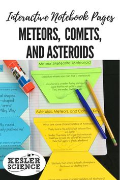 Learn the difference between meteor, meteorites, meteoroids, asteroids, and comets in these interactive notebook pages. Turn science notebooks into a fun, interactive, hands-on learning experience for your upper elementary or middle school students! Grades 3rd 4th 5th 6th 7th 8th