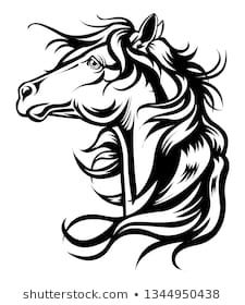 Ähnliche Bilder, Stockfotos und Vektorgrafiken von Vector silhouette of a horse's head - 645837871 | Shutterstock Horse Head Drawing, Horse Stencil, Tribal Tattoos, Silhouette, Horses, Drawings, Image, Paintings, Vectors