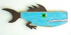 Whimsical colorful found object wood fish art. Peace Out Perch