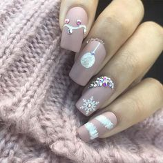 Matte nude sand/christmas nail art🎄 what are acrylic nails, holiday nails, Cute Christmas Nails, Christmas Nail Art Designs, Xmas Nails, Winter Nail Designs, Holiday Nails, Halloween Nails, Pink Christmas, Valentine Nails, Christmas 2019