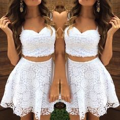 Stylish Sweetheart Neck Sleeveless Short Lace Tank Top and Skirt Suit For Women